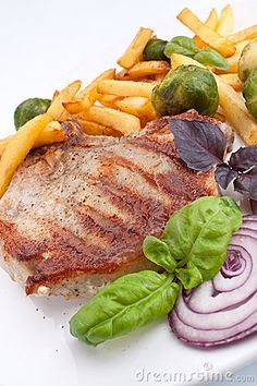 Pork Chops With Fries And Brussels Sprouts Stock Image - Image of course, cabbage: 9635895 Brussels Sprouts, French Fries, Pork Chops, Steak, Cabbage, Grilling, Turkey, Inspirational, Image