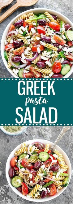 A super flavorful, colorful, and easy Greek pasta salad made with healthy, simple ingredients: creamy feta cheese, juicy tomatoes, crisp cucumber, crunchy green bell pepper, pungent red onion, and tangy Kalamata olives.