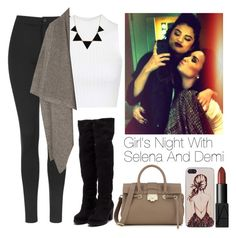 """""""Girl's Night with Selena and Demi"""" by lovatic92 ❤ liked on Polyvore featuring Topshop, STELLA McCARTNEY, CO, Jimmy Choo, Nly Shoes, NARS Cosmetics and Caso"""