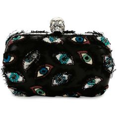 Alexander Mcqueen Embroidered-Eye Classic Skull Clutch Bag ($2,795) ❤ liked on Polyvore featuring bags, handbags, clutches, alexander mcqueen, purses, multi, skull handbag, skull hand bags, alexander mcqueen purse and lambskin leather handbags