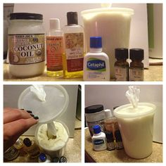 "HOMEMADE MOISTURIZING MAKEUP REMOVER WIPES (recipe by Missy) Mix 3 cups warm water, 1-2 spoonfuls coconut oil, a squirt of each jojoba and vitamin E oils, 2-3 squirts Cetaphil cleanser, and a splash of lavender and tea tree oils. Cut a Viva paper towel roll in half, place in a container, and pour the mix over. The center roll will then pull right out. I cut an ""x"" in the lid, and pulled the center towel through it, like a little dispenser. Voila!"