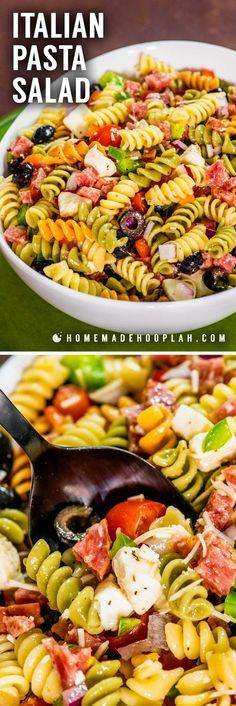 This easy cold Italian pasta salad packs a ton of flavor wi Italian Pasta Salad! This easy cold Italian pasta salad packs a ton of flavor wi… Gastro, Pasta Salad Italian, Italian Pasta Dishes, Pasta With Italian Dressing, Cold Pasta Dishes, Soup And Salad, Pasta Salad With Feta, Dressing For Pasta Salad, Shrimp Salad