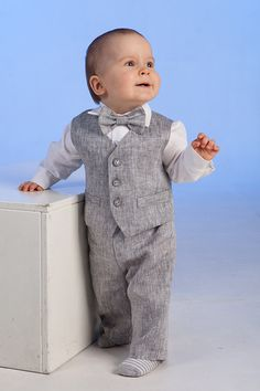 Baby boy linen cotton suit baptism christening outfit baby boy clothes ring bearer baby boy, kids eco friendly, boy gray suit first birthday on Etsy, $141.15 CAD
