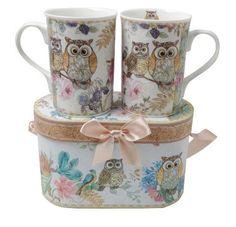 Tee-/Kaffeetassen Set mit Eulenmotiv in Geschenkbox 2teilig Mugs, Tableware, Casket, Owls, Cups, Gifts, Atelier, Coffee Cup Set, Packaging