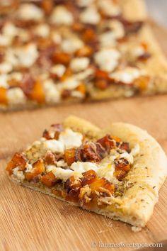 pizza with sage pesto, butternut squash, prosciutto, and chevre