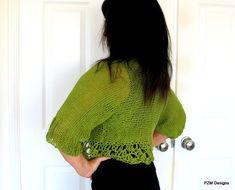 Green knit shrug avocado green bamboo sweater shrug by pzmdesigns, $69.00