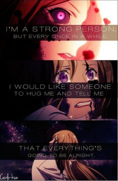 I'm a strong person, but every once in a while I would like someone to hug me and tell me that everything's going to be alright. :: Bishamon and Kazuma // Noragami Sad Anime Quotes, Manga Quotes, True Quotes, Quotes Pics, Noragami Bishamon, Noragami Anime, Manga Anime, Pokemon Go, Les Sentiments