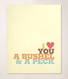 Bushel & A Peck 8x10 Print or Nursery, Baby Room, Kids Room in yellow, green, orange and brown. $18.00, via Etsy.