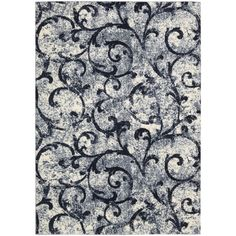 kathy ireland by Nourison Santa Barbara White Navy Rug (7'10 x 10'10) ❤ liked on Polyvore featuring home, rugs, navy area rug, white area rug, navy rug, navy blue area rug and navy blue rug