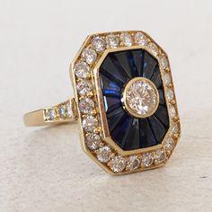 Bague années 80 en or jaune, diamants et saphirs trapèzes / bague de fiançailles / mariage