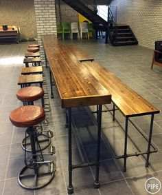 Bleacher - instead of bleacher, a long bench?:: THE PIPE :: Industrial Table, Industrial House, Industrial Furniture, Pipe Furniture, Custom Furniture, Furniture Design, Cafe Interior, Office Interior Design, Business Furniture