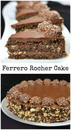ferrero rocher cake A rich nutty chocolate goodness. All time Christmas favorite, just like having a load of candies in your mouth! Just Desserts, Delicious Desserts, Yummy Food, Baking Recipes, Cake Recipes, Dessert Recipes, Veggie Recipes, Healthy Recipes, Food Cakes