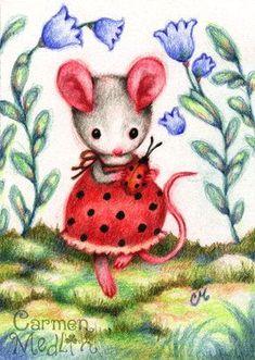 Ladybug Friend - mouse art by Carmen Medlin: