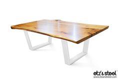 """Java"": Hard Maple Live-Edge Coffee Table with Steel Base, White #diningtables #woodslab #woodenfurniture #homeinterior #houzz #liveedge"
