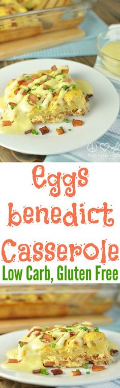 Keto Eggs Benedict Casserole - Low Carb, Gluten Free via -substitute turkey ham Eggs Benedict Casserole, Egg Benedict, Low Carb Recipes, Real Food Recipes, Cooking Recipes, Healthy Recipes, Free Recipes, Low Carbohydrate Diet, Low Carb Diet