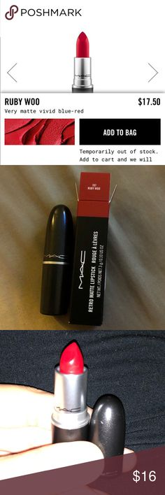 The ICONIC Ruby Woo FULL SIZE Lipstick!! Brand New Never Used.  P.S. All of my items are Authentic i keep the proof of purchase tag on my items so you can actually even exchange within 30 days of my listing date. My prices are great because i get a great price for them! MAC Cosmetics Makeup Lipstick