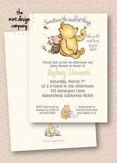 Baby Shower ideas 2019 - This Classic Winnie the Pooh invitation is perfect for a gender neutral baby sho. Baby Shower Afternoon Tea, Baby Shower Tea, Shower Bebe, Baby Shower Cakes, Baby Shower Themes, Baby Shower Decorations, Baby Boy Shower, Baby Shower Gifts, Shower Ideas