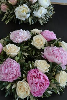 Wedding centerpiece tips and ideas. Wedding reception centerpieces with peonies, roses and olive leaves. Flower design by Xyntaris Flowers. Event Planning by Event-gr, Joanna Loukakis
