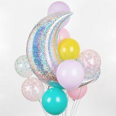 Ballon aluminium mylar grande lune iridescente