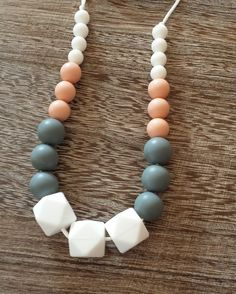 Silicone Teething Necklace in Pink, White, Grey