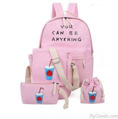 Korean Fresh Printing Letters Canvas Backpack Schoolbag Four Set Travel Bag