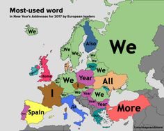 "nederys: ""mapsontheweb: ""Most-used word in New Year's Addresses for 2017 by European leaders. Weird Facts, Fun Facts, Planet Map, Something Awful, America Memes, European Languages, History Memes, Custom Canvas, Fresh Memes"