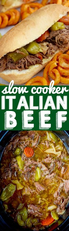 4 Points About Vintage And Standard Elizabethan Cooking Recipes! These Slow Cooker Italian Beef Sandwiches Are About 10 Minutes Of Hands On Time For A Delicious Dinner The Family Will Love Slow Cooker Italian Beef, Crock Pot Slow Cooker, Crock Pot Cooking, Slow Cooker Recipes, Italian Recipes, Crockpot Recipes, Cooking Recipes, Crockpot Dishes, Beef Dishes