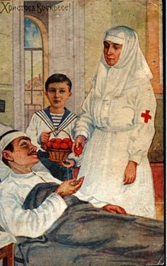 Russian Orthodox Easter card depicting Tzarevich Alexei bringing Easter eggs to a wounded soldier, WWI