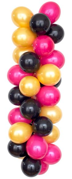 Luft Balloon's BACHELORETTE palette includes hot pink, gold and black. Balloons perfect for throwing the special bride-to-be a bachelorette party she'll never forget. Mini Balloons, Black Balloons, Latex Balloons, 60th Birthday Ideas For Mom, 40 Birthday, Black Party Decorations, Quinceanera Decorations, Balloon Decorations, 60th Birthday Balloons