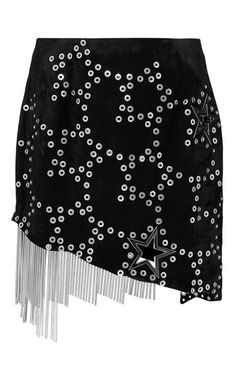 Metal Stars Mini Skirt With Fringe by Anthony Vaccarello for Preorder on Moda Operandi
