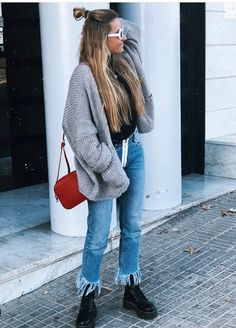 Oufits Casual, Cute Casual Outfits, Winter Outfits, Summer Outfits, College Fashion, College Outfits, Dr Martens Outfit, Japanese Denim, Cardigan Outfits