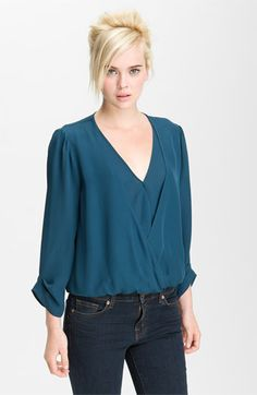 Joie 'Yogini B' Layered Surplice Blouse | Nordstrom    if you're a smaller woman looking for a drapey top, this is the PERFECT one for fall!    #NSale #PinItToWinIt