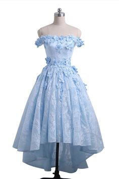 Sweetheart blue lace off shoulder high low homecoming dress, short floral prom dress