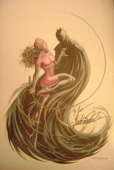 Batman & Catwoman print by Justiniano Comic Art