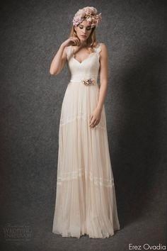 erez ovadia bridal 2015 blossom emilie b sleeveless wedding dress wide lace straps -- Erez Ovadia 2015 Wedding Dresses