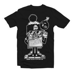 123KLAN MASCOT MR CARD BLACK T-SHIRT Like all our BANDIT1SM tees, this t-shirt is 100% coton, made in North America, and printed in Montreal, Canada. Pre-shrunk to minimize shrinkage. Machine washable. Double-needle bottom hem and sleeves.