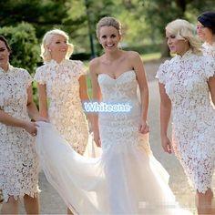 White Vintage Lace Bridesmaid Dresses Sheath Knee Length High Neck Cap Sleeves…