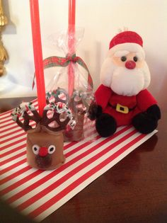 My reindeer pops I made from jumbo marshmallows. Stickes are milkshake straws