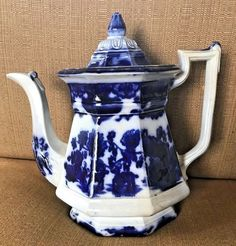 """FLOW BLUE 9"""" CASHMERE TEAPOT GREAT COLOR! FRANCIS & MORLEY PROF REPAIRED"""