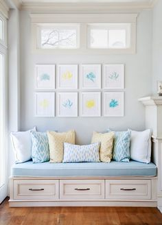 Artwork seen on House of Turquoise: Erin Hedrick Design | Built-in seating www.driftwoodinteriors.com.au
