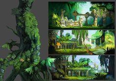 Rayman Origins concept art.  Beautiful work