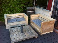 mobiliario de jardín con palets en terraza