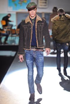 Jean Jacket Shearling Coat, Distressed Jeans, Boots, and Sweater by  DSquared. Men's Fall/Winter Fashion.