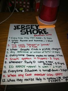 Jersey Shore drinking game.