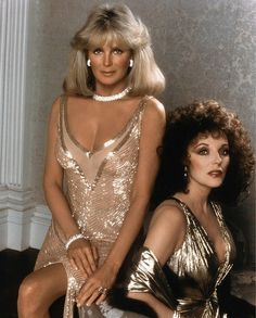 Linda Evans & Joan Collins in Dynasty (January 12, 1981 to May 1989, ABC). #JoanCollinsTimlessBeauty www.joancollinsbeauty.com