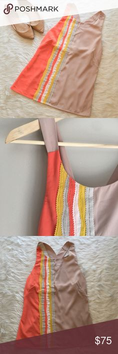 Sachin + Babi Orange & Tan Top 6 Sachin + Babi orange & tan 70's inspired sleeveless blouse. Size 6. Measurements are approximately 17' in chest and 28 in length. One spot on right side right beside zipper. Very small. GUC..❌ No Trades ❌ No off Poshmark transactions ❤️ Bundle and save 📬 Fast shipper ❤️ I love reasonable offers Sachin + Babi Tops Blouses