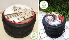 Decoração ecológica com pneus usados