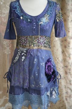 Indigo oriental flair tunic or dress textile by FleurBonheur