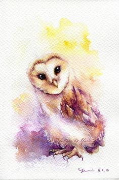 PRINT Little Barn Owl Watercolor painting 7.5 by WaysideBoutique