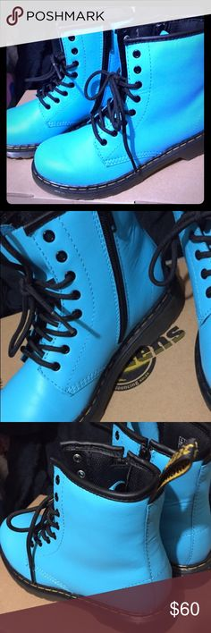 Dr. Martens boots Dr. Martens Delaney Bubblegum Blue, Size 4 boots. Brand NEW, never worn and in original box. These lace up the front and zip on the side for a quick slip on, zip and go😬 these are a kids or Jr size 4. Reasonable offers are welcome but please bare in mind, these are Brand New plus 20% posh earns. Thanks for looking!!💕💕 Dr. Martens Shoes Boots